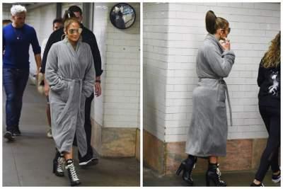 Дженнифер Лопес появилась на публике в махровом халате