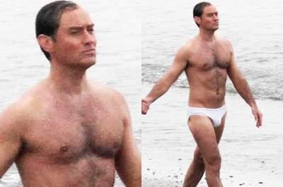 Папарацци засняли Джуда Лоу на пляже